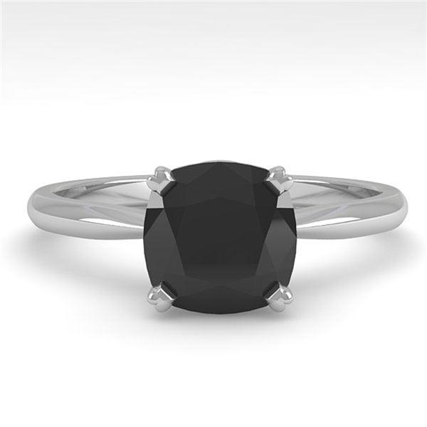 3 ctw Cushion Black Diamond Engagment Designer Ring 14k White Gold - REF-97G5W