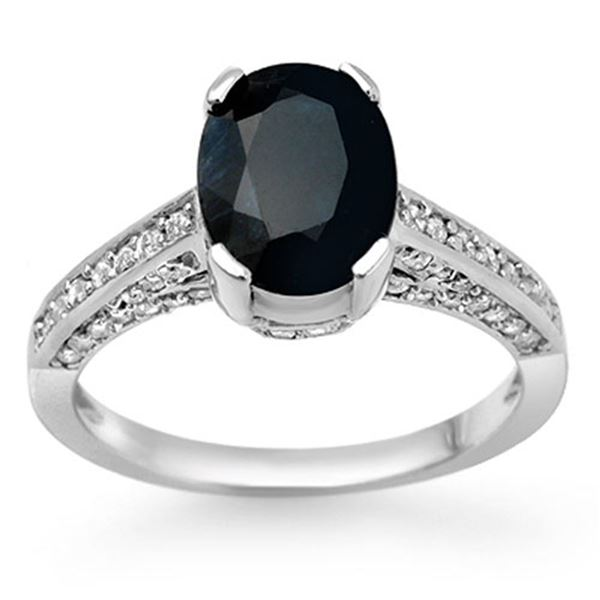 3.50 ctw Blue Sapphire & Diamond Ring 18k White Gold - REF-82F9M