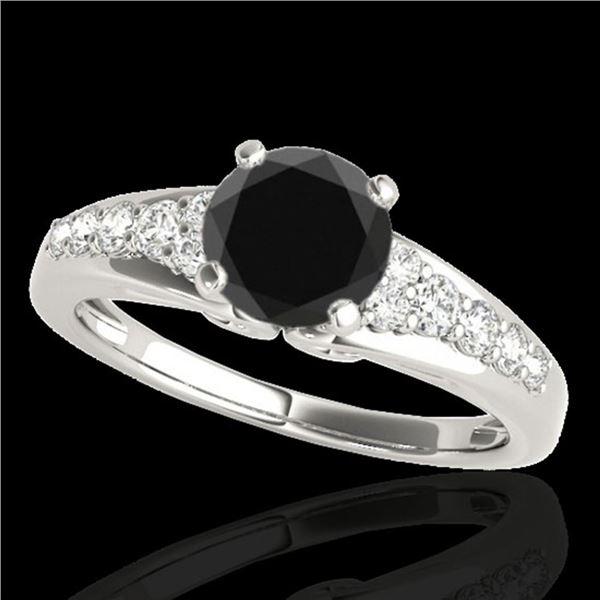 1.40 ctw Certified VS Black Diamond Solitaire Ring 10k White Gold - REF-48Y5X