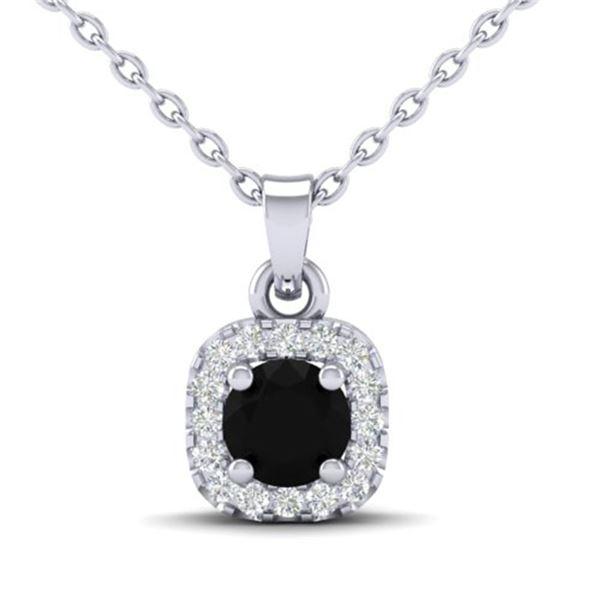 0.47 ctw Micro Pave VS/SI Diamond Necklace Designer Halo 18k White Gold - REF-25X8A