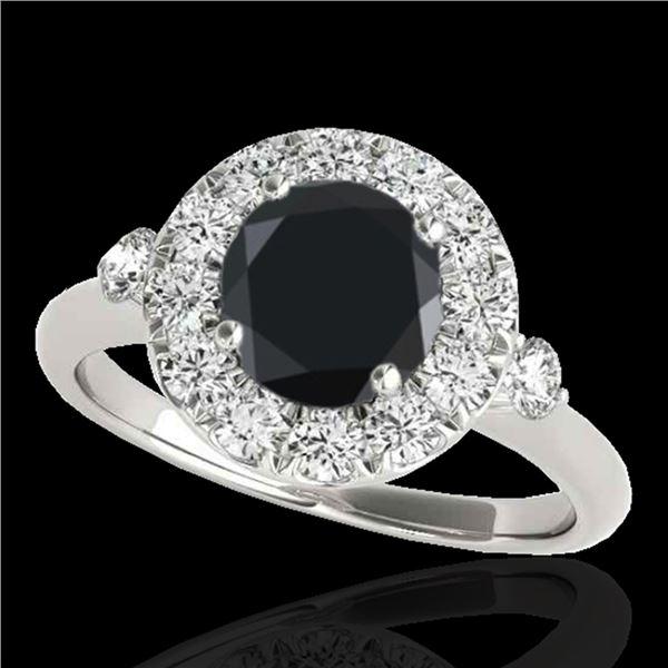 1.5 ctw Certified VS Black Diamond Solitaire Halo Ring 10k White Gold - REF-51K8Y