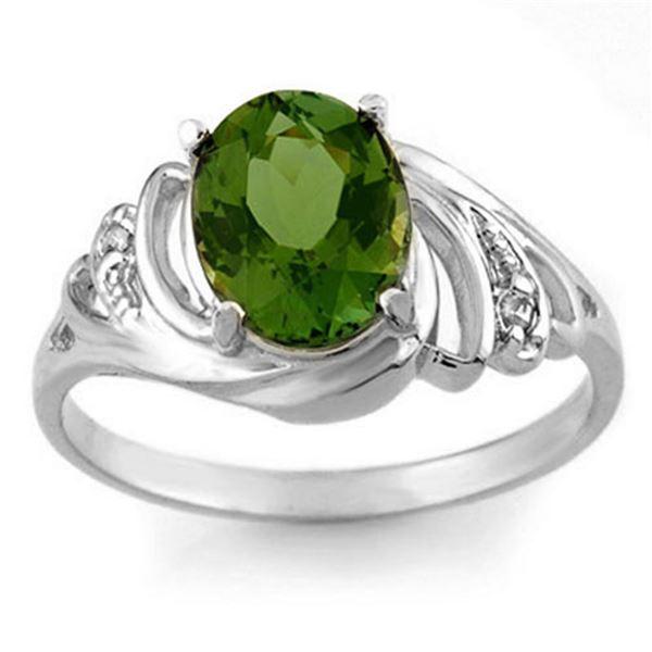 2.54 ctw Green Tourmaline & Diamond Ring 18k White Gold - REF-40M9G