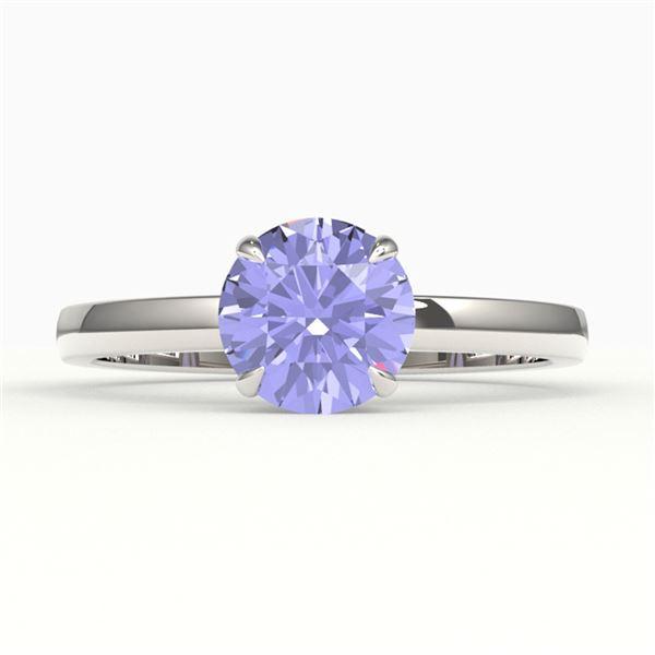 2 ctw Tanzanite Designer Engagment Ring 18k White Gold - REF-39K5Y