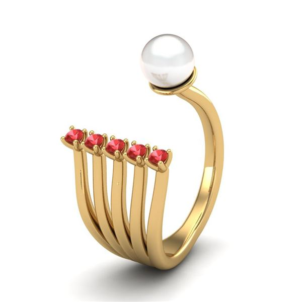 0.75 ctw RED Sapphire & White Pearl Designer Ring 14k Yellow Gold - REF-25N2F