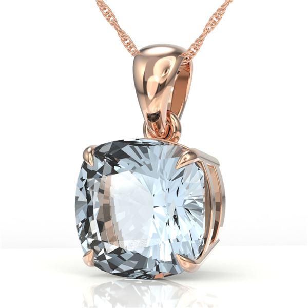 4.50 ctw Cushion Cut Aquamarine Designer Necklace 14k Rose Gold - REF-46X5A