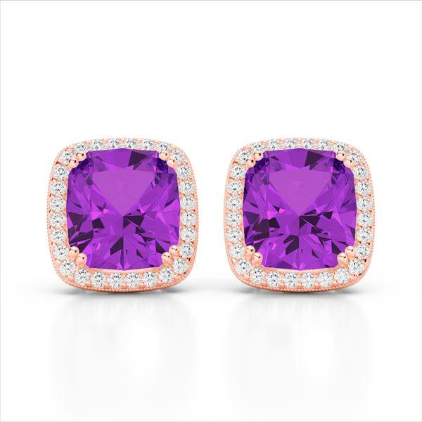 6 ctw Amethyst & Micro Pave VS/SI Diamond Halo Earrings 14k Rose Gold - REF-51Y4X