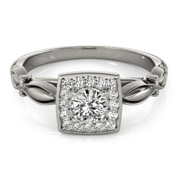 0.55 ctw Certified VS/SI Diamond Halo Ring 14k White Gold - REF-52W3H