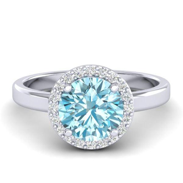 2 ctw Sky Blue Topaz & Halo VS/SI Diamond Micro Ring 18k White Gold - REF-37R6K