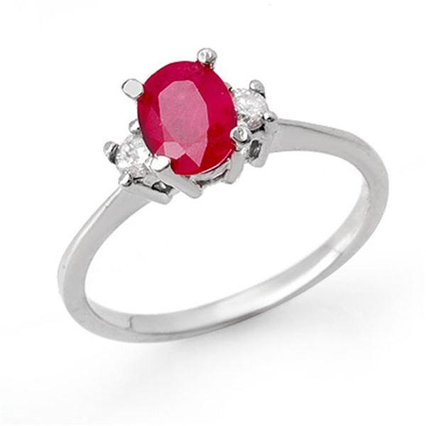 1.36 ctw Ruby & Diamond Ring 18k White Gold - REF-31F4M