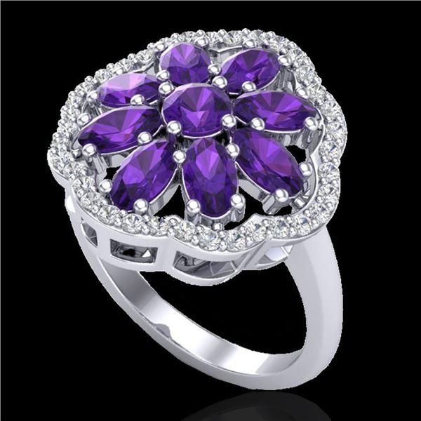 3 ctw Amethyst & VS/SI Diamond Cluster Designer Ring 10k White Gold - REF-49X3A
