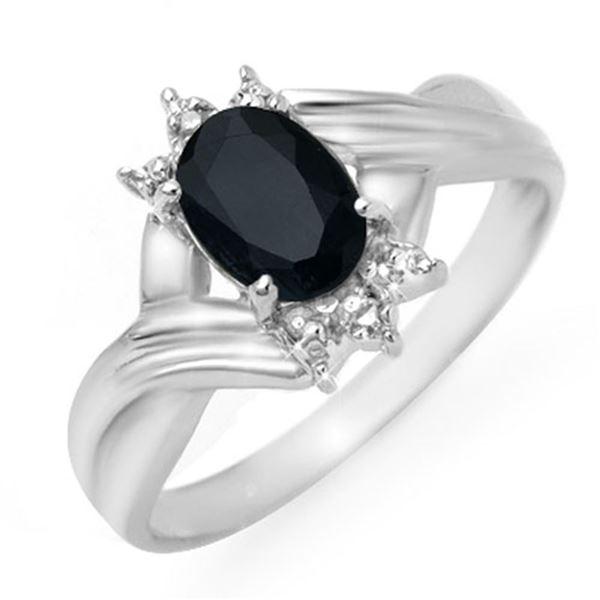 1.03 ctw Blue Sapphire & Diamond Ring 10k White Gold - REF-12K3Y