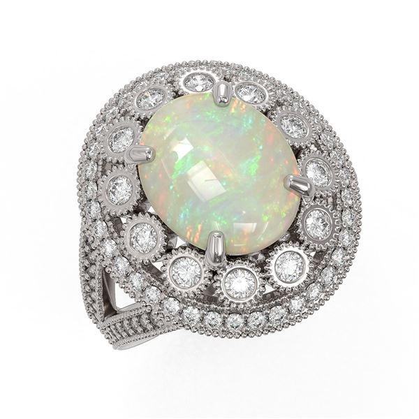 5.28 ctw Certified Opal & Diamond Victorian Ring 14K White Gold - REF-191M3G