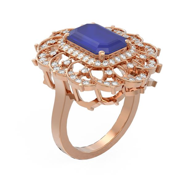 6.75 ctw Sapphire & Diamond Ring 18K Rose Gold - REF-178Y2X