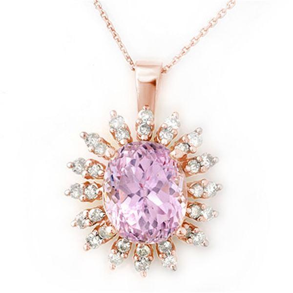 8.68 ctw Kunzite & Diamond Necklace 14k Rose Gold - REF-138F8M