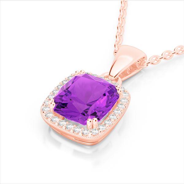 3 ctw Amethyst & Micro VS/SI Diamond Pave Necklace 14k Rose Gold - REF-39G5W
