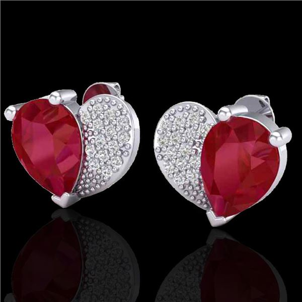2.50 ctw Ruby & Micro Pave VS/SI Diamond Certified Earrings 10k White Gold - REF-25Y4X