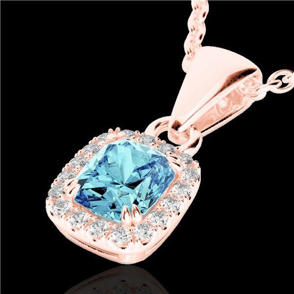 1.25 ctw Sky Blue Topaz & Micro VS/SI Diamond Necklace 10k Rose Gold - REF-20R5K