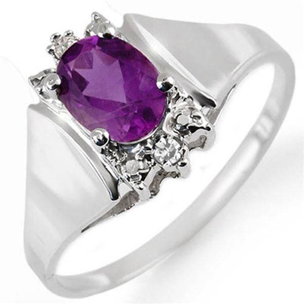 1.23 ctw Amethyst & Diamond Ring 10k White Gold - REF-11N3F