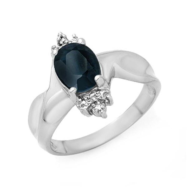 1.58 ctw Blue Sapphire & Diamond Ring 10k White Gold - REF-15G5W
