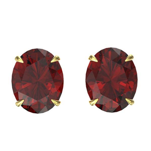 7 ctw Garnet Designer Stud Earrings 18k Yellow Gold - REF-26R2K