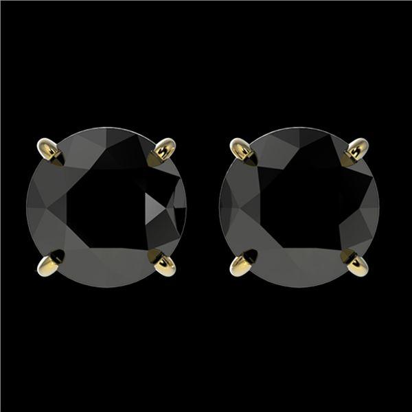 2.13 ctw Fancy Black Diamond Solitaire Stud Earrings 10k Yellow Gold - REF-35X6A
