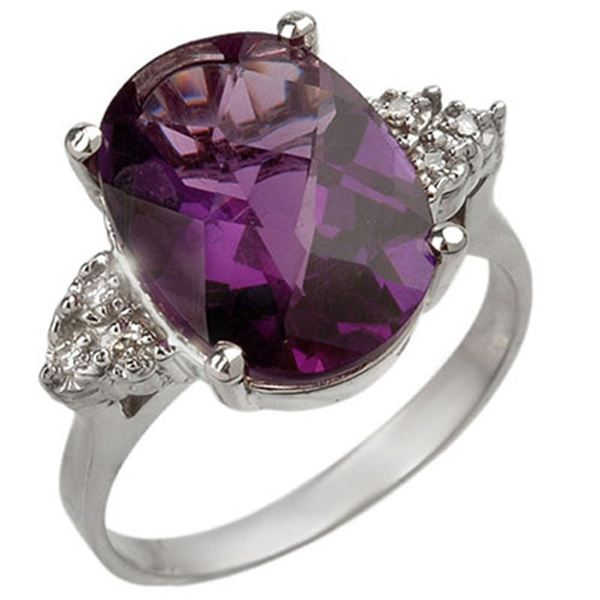 5.10 ctw Amethyst & Diamond Ring 18k White Gold - REF-45R3K
