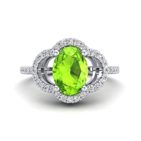 1.75 ctw Peridot & Micro Pave VS/SI Diamond Certified Ring 10k White Gold - REF-32Y8X