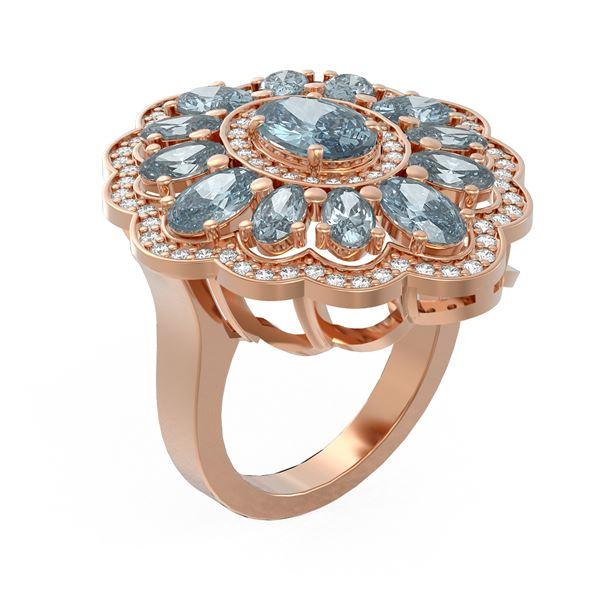 6.34 ctw Blue Topaz & Diamond Ring 18K Rose Gold - REF-140H2R