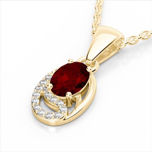 1.25 ctw Garnet & Micro Pave VS/SI Diamond Necklace 10k Yellow Gold - REF-18A4N