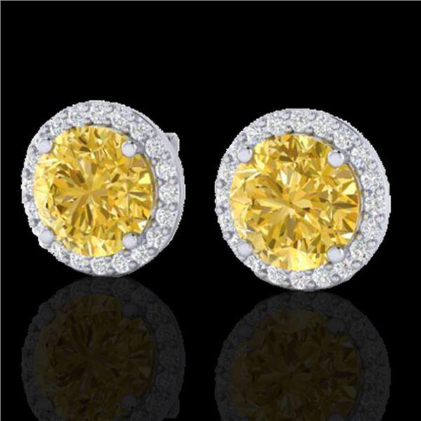 4 ctw Citrine & Halo VS/SI Diamond Micro Pave Earrings 18k White Gold - REF-49F3M