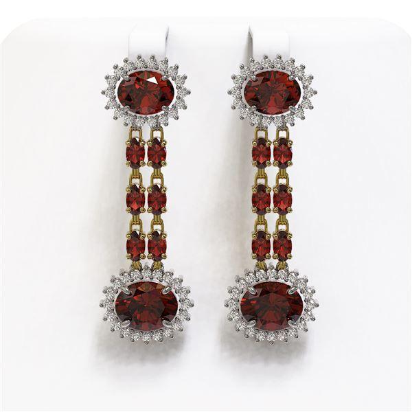 11.7 ctw Garnet & Diamond Earrings 14K Yellow Gold - REF-174X2A