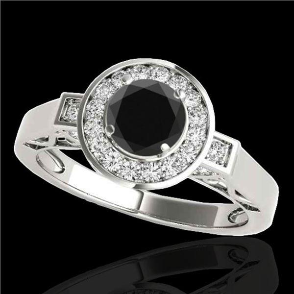 1.75 ctw Certified VS Black Diamond Solitaire Halo Ring 10k White Gold - REF-54F3M