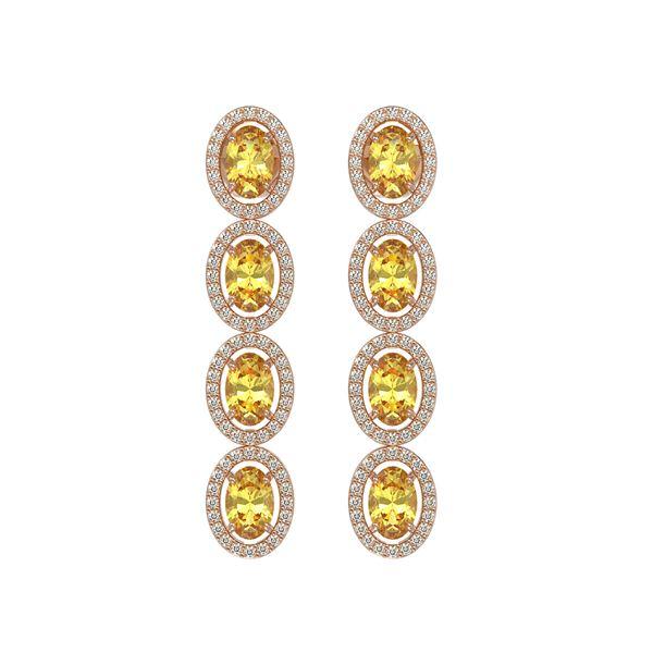 5.4 ctw Fancy Citrine & Diamond Micro Pave Halo Earrings 10k Rose Gold - REF-143H6R