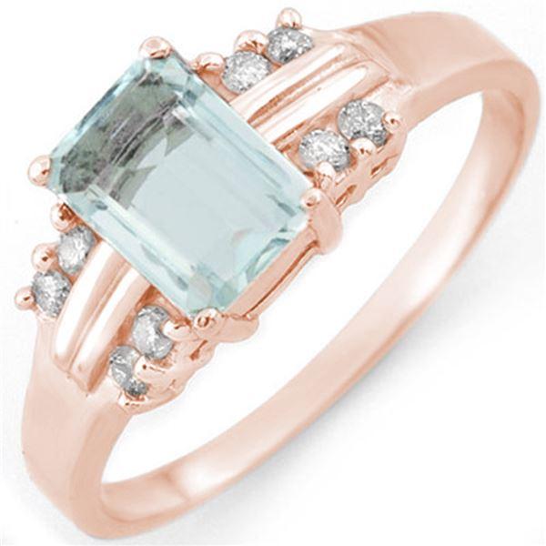 1.41 ctw Aquamarine & Diamond Ring 18k Rose Gold - REF-32N2F