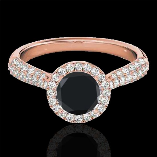 1.40 ctw Certified VS Black Diamond Solitaire Halo Ring 10k Rose Gold - REF-50R5K