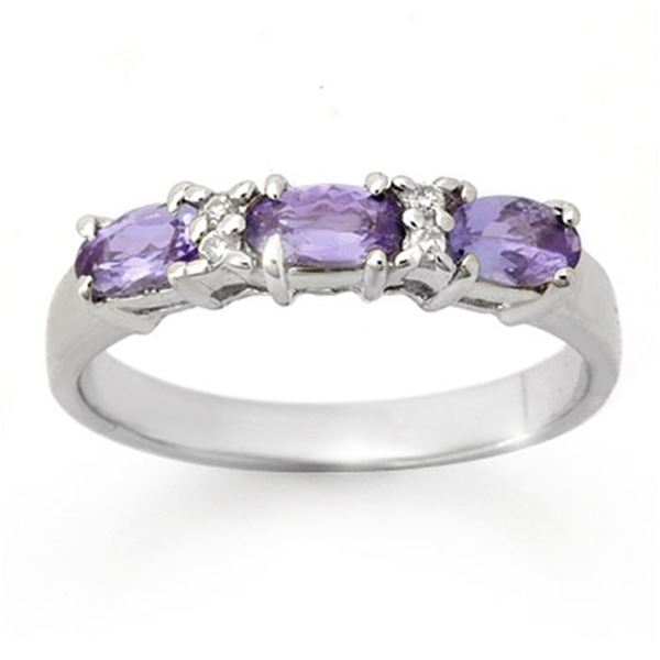 0.82 ctw Tanzanite & Diamond Ring 10k White Gold - REF-17Y2X