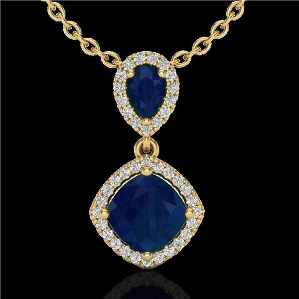3.50 ctw Sapphire & Micro VS/SI Diamond Necklace Designer 10k Yellow Gold - REF-45X2A