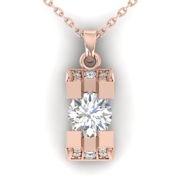 1.15 ctw VS/SI Diamond Art Deco Stud Necklace 14k Rose Gold - REF-143N6F