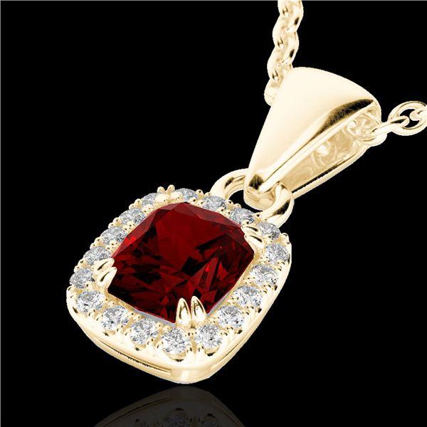 1.25 ctw Garnet & Micro Pave VS/SI Diamond Necklace 10k Yellow Gold - REF-24R5K