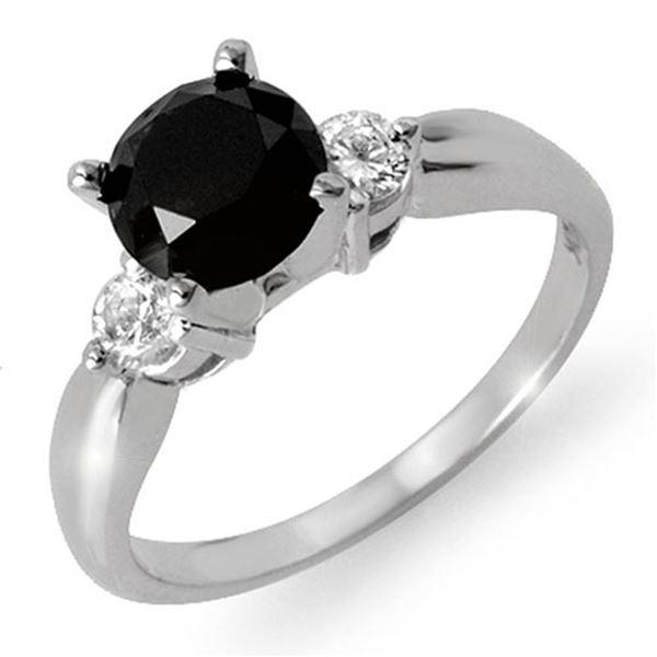 1.65 ctw VS Certified Black & White Diamond Solitaire Ring 14k White Gold - REF-50X6A