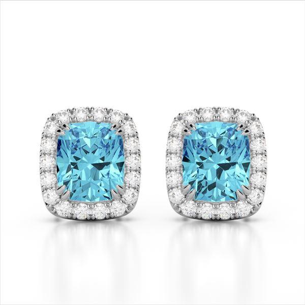 2.50 ctw Sky Blue Topaz & Micro VS/SI Diamond Earrings 10k White Gold - REF-30N8F