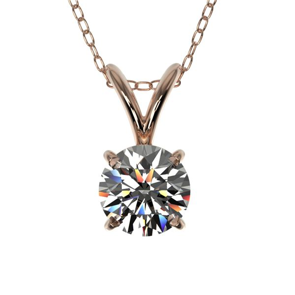 0.53 ctw Certified Quality Diamond Solitaire Necklace 10k Rose Gold - REF-40F8M