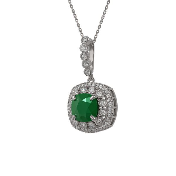 6.58 ctw Certified Emerald & Diamond Victorian Necklace 14K White Gold - REF-209A3N
