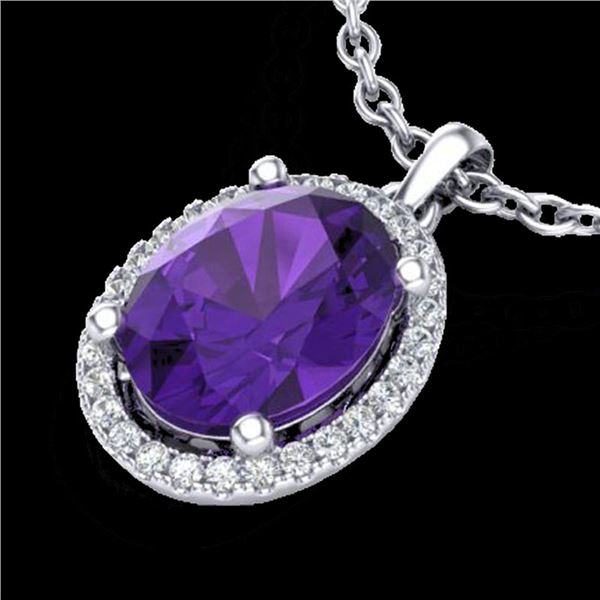 2.50 ctw Amethyst & Micro Pave VS/SI Diamond Necklace 18k White Gold - REF-33K8Y