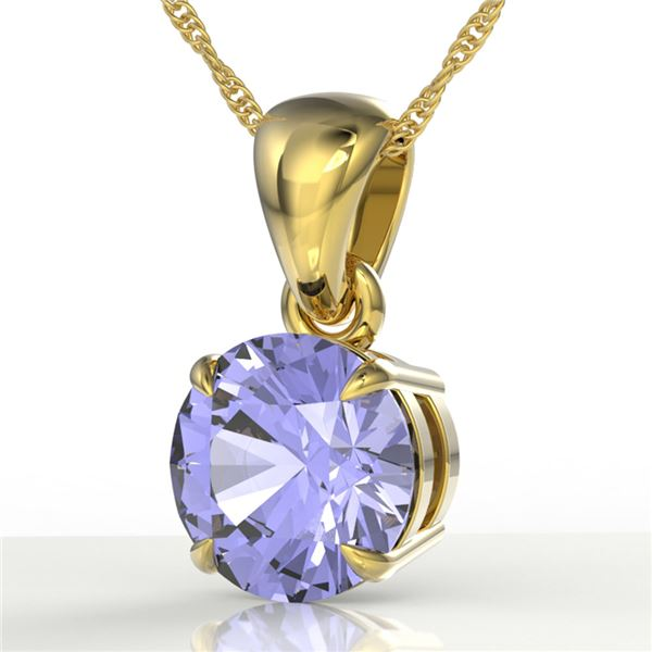 2 ctw Tanzanite Designer Solitaire Necklace 18k Yellow Gold - REF-32G8W
