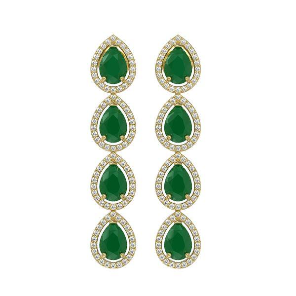 10.2 ctw Emerald & Diamond Micro Pave Halo Earrings 10k Yellow Gold - REF-155Y5X