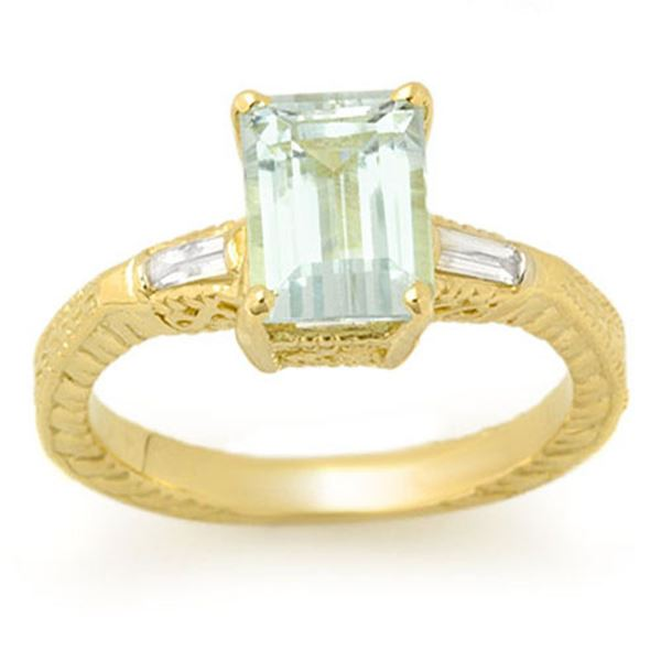 2.20 ctw Aquamarine & Diamond Ring 10k Yellow Gold - REF-36Y8X