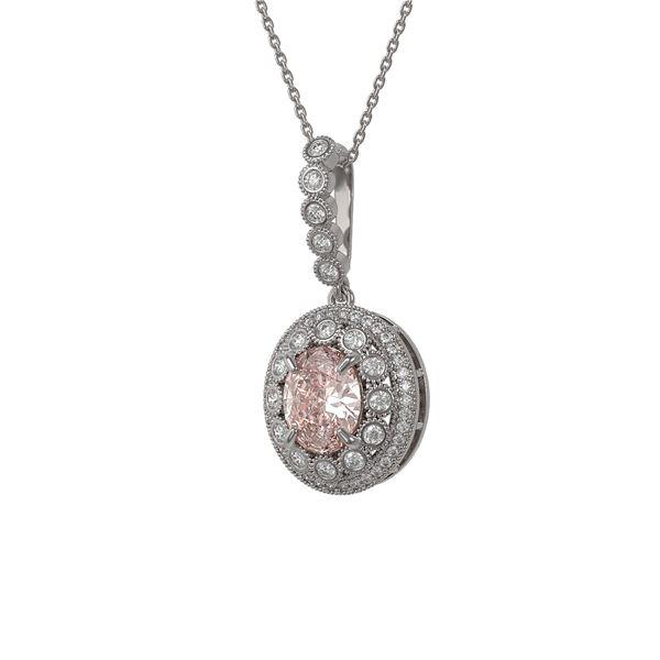 3.92 ctw Morganite & Diamond Victorian Necklace 14K White Gold - REF-167X5A