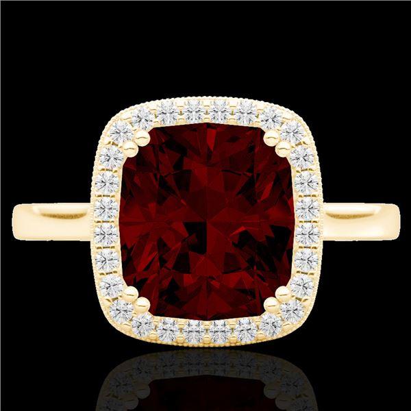 3 ctw Garnet & Micro Pave VS/SI Diamond Certified Ring 18k Yellow Gold - REF-37H6R