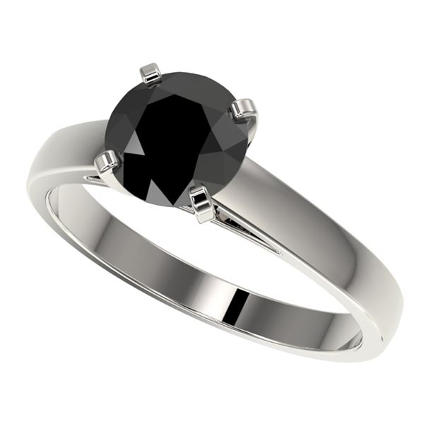 1.50 ctw Fancy Black Diamond Solitaire Engagment Ring 10k White Gold - REF-35K6Y